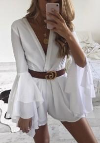 White Cascading Ruffle Elastic Waist Fashion Short Jumpsuit