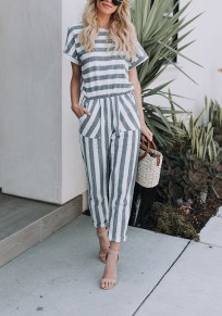 Grey Striped Pockets Zipper Round Neck Casual Long Jumpsuit