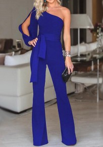 Blue Asymmetric Shoulder Cut Out Drawstring Waist Fashion Long Jumpsuit