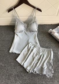 Grey Patchwork Lace Condole Belt 2-in-1 Elastic Waist Short Jumpsuit