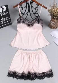 Pink Patchwork Lace Condole Belt 2-in-1 Fashion Short Jumpsuit