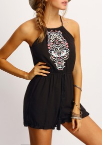 Black Floral Print Drawstring Halter Neck One Piece Sweet Short Jumpsuit