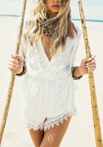 White Patchwork Lace Cut Out One Piece Deep V-neck Bohemian Short Jumpsuit