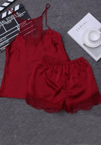 Wine Red Patchwork 2-in-1 Lace Elastic Waist Short Jumpsuit