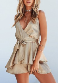 Golden Sashes Draped Peplum Spaghetti Strap Backless V-neck Party Short Jumpsuit