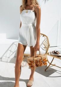 Combinaison short dos noué cordon de serrage à la taille mode blanc