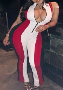 Black Striped Pattern Zipper Catsuit Bodycon One Piece High Waisted Clubwear Party Long Jumpsuit