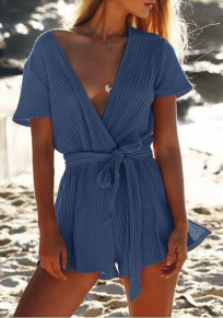 Blue Sashes Plunging Neckline Casual Short Jumpsuit