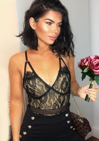 Black Floral Lace Spaghetti Strap Deep V-neck Bodysuit Clubwear Leotard Party Short Jumpsuit