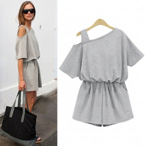 Grey Cut Out Pockets Elastic Waist Casual Short Jumpsuit