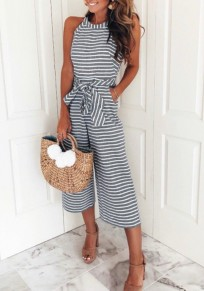 Black-White Striped Sashes Pockets Halter Neck High Waisted Party Wide Leg Seven's Jumpsuit