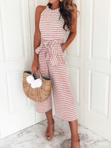 Pink-White Striped Sashes Pockets Halter Neck High Waisted Party Wide Leg Seven's Jumpsuit