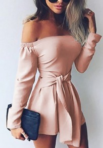 Pink Sashes Boat Neck Fashion Short Jumpsuit