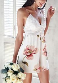 White Floral Condole Belt Lace Tie Back V-neck Fashion Short Jumpsuit