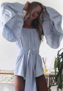 Blue Sashes Bow Off Shoulder Backless Flutter Sleeve Going out short jumpsuit