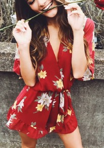 Red Floral Print Sashes Lace-up Deep V-neck Sweet short jumpsuit