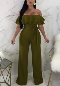 Army Green Cascading Ruffle Sashes Off Shoulder High Waisted Elegant Wide Leg Long Jumpsuit