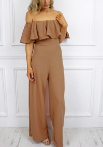 Khaki Ruffle Off Shoulder High Waisted Elegant Party Wide Leg long Jumpsuit