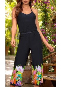 Black Floral Backless Halter Neck Spaghetti Strap Deep V-neck Bohemian Vocation Long Jumpsuit