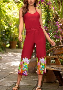 Red Floral Print Pleated Spaghetti Strap Backless Fashion Long Jumpsuit