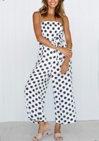 White Polka Dot Pockets Sashes Spaghetti Strap High Waisted Sweet Wide Leg Long Jumpsuit