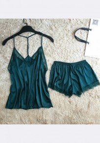 Blackish Green Patchwork Lace Two Piece Off Shoulder Casual Short Jumpsuit