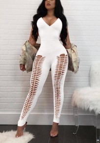 White Cut Out Backless Lace-up Spaghetti Strap Bodycon Catsuit Deep V-neck Long Jumpsuit