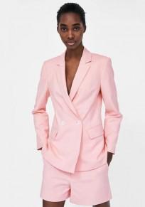 Pink Buttons Pockets Elastic Waist Fashion Short Jumpsuit