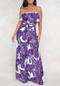 Purple Floral Ruffle Sashes Bandeau Off Shoulder Backless Two Piece Casual Wide Leg Long Jumpsuit