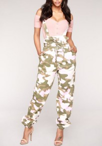 Pink Camo Print Shoulder-Strap Pockets Drawstring Bowknot High Waisted Casual Overall Pants