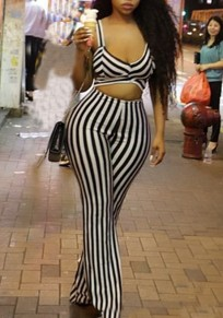 White-Black Striped Cut Out Deep V-neck Backless Clubwear Bell-Bottom Flare Long Jumpsuit