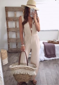 Beige Zipper Side Slit Backless Deep V-nck Elegant Formal Party Long Jumpsuit