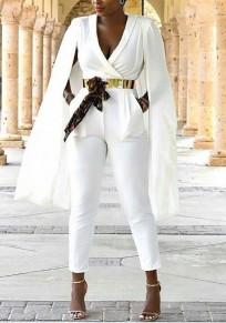Combinaison poches croisées profonde v-cou taille haute élégante blazer travailleur longue blanc