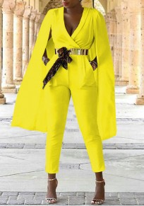 Yellow Cross Pockets Deep V-neck High Waisted Elegant Worker Suit Cloak Long Jumpsuit