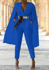 Tuta giacca A vita alta con v-collo A vita alta elegante blazer mantello lungo blu