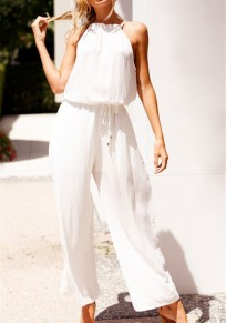 White Drawstring Lace-up Party Office Worker/Daily Wide Leg Long Jumpsuit