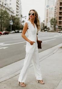 Combinaison pantalons longues avec dentelle v-cou sans manches élégant femme blanc