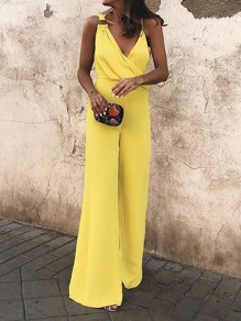 Yellow Asymmetric Shoulder Cross Ruched V-neck High Waisted Wide Leg Elegant Long Jumpsuit