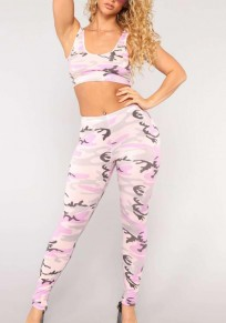 Pink Camouflage Camo Print Two Piece High Waisted Shoulder-Strap Sports Yoga Long Jumpsuit