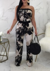 Black White Palm Leaf Print Sashes Bandeau Ruffle Off Shoulder Bohemian Wide Leg Long Jumpsuit