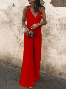 Red Irregular Pleated Deep V-neck High Waisted Elegant Wide Leg Long Jumpsuit