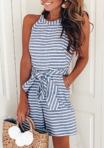 Blue-White Striped Pockets Sashes One Piece Sweet Going out Short Jumpsuit