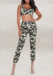 Green Camouflage Print Two Piece Going out Sports Casual Long Jumpsuit