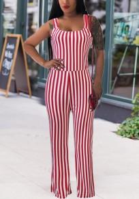 Rot Gestreift Schultergurt Rückenfrei hoch taillierte Elegante Partei Wide Leg Langer Overall