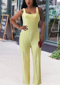 Yellow Striped Shoulder-Strap Backless High Waisted Elegant Party Wide Leg Long Jumpsuit