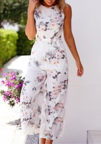 White Floral Pockets High Waisted Elegant Bohemian Party Wide Leg Nine's Jumpsuit