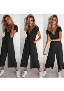 Black Single Breasted Pockets Casual Long Jumpsuit