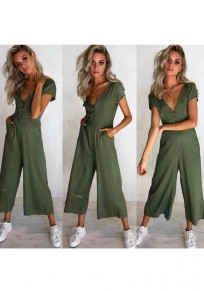 Green Single Breasted Pockets Casual Long Jumpsuit
