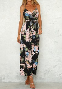 Black Floral Sashes Spaghetti Strap Backless Bohemian Wide Leg Long Jumpsuit