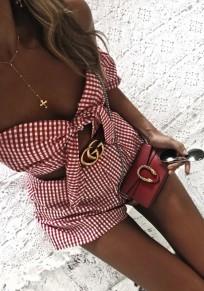 Shorts jumpsuit poches à carreaux découpesss à mode rouge